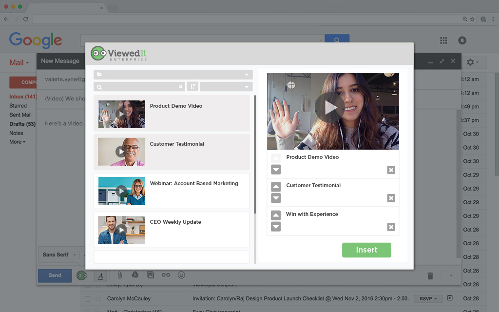 Create a custom video playlist inside of Gmail by choosing from your personal video library along with videos shared by teams like marketing, sales and support.