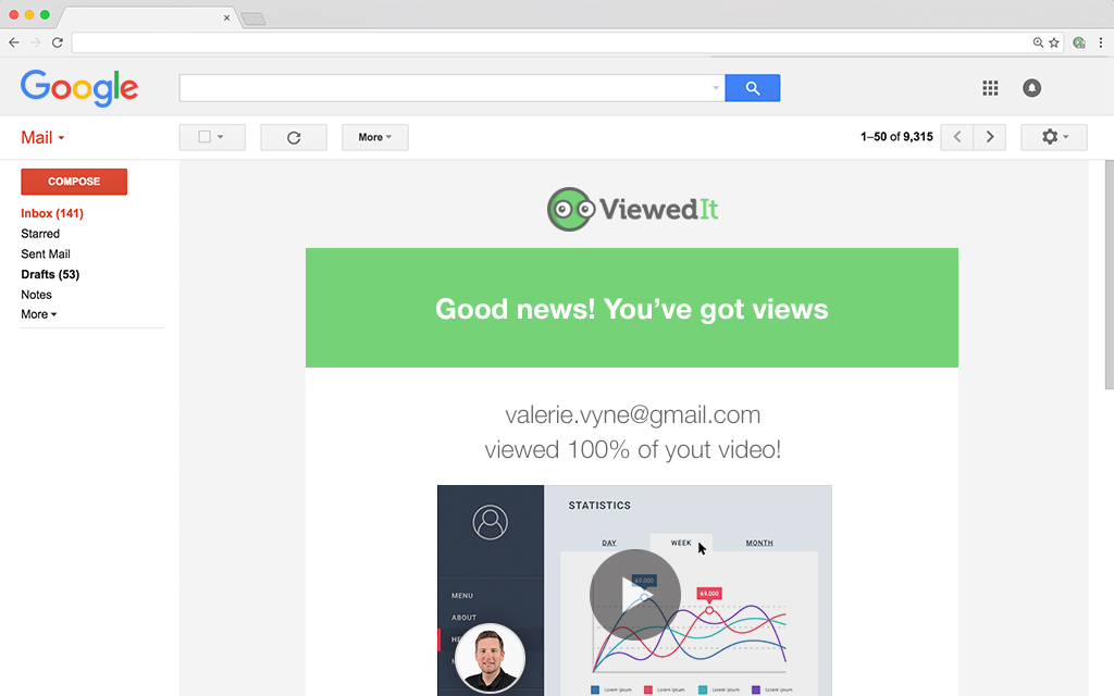 Get immediate insight on who's watching your videos with email notifications sent straight to your inbox.