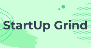 Green background, black text saying startup grind