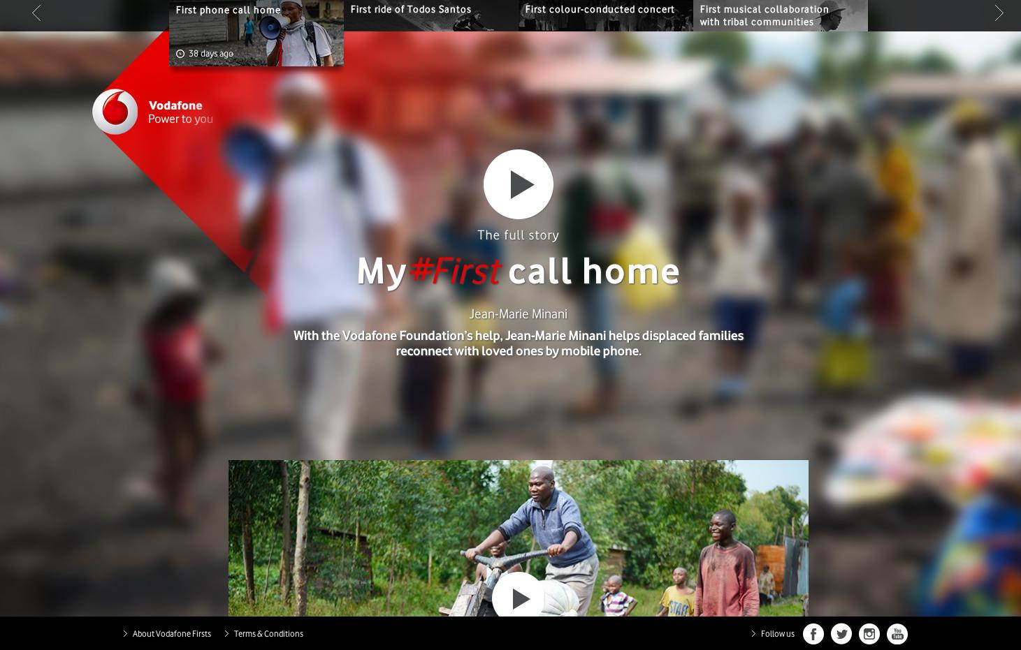 Vodafone's campaign landing page