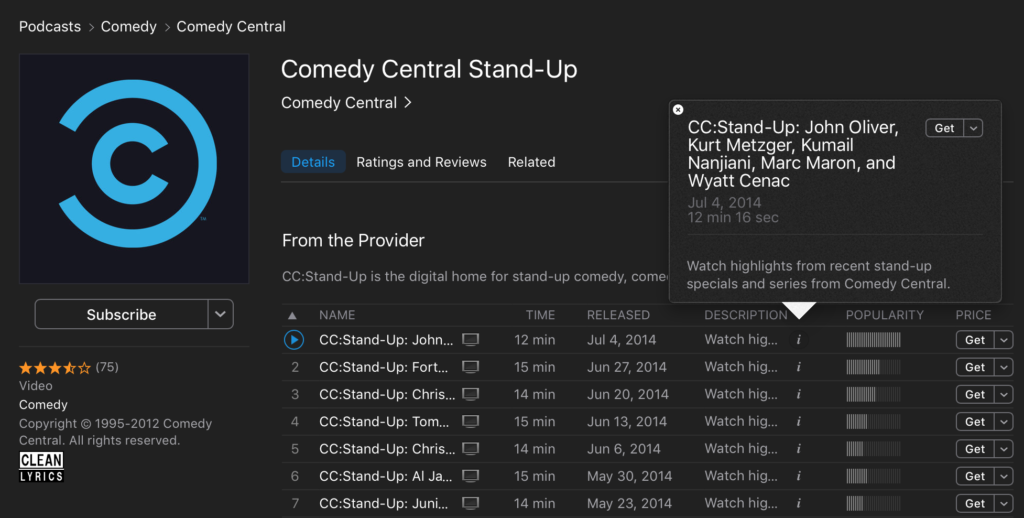 Comedy Central Podcast Screenshot