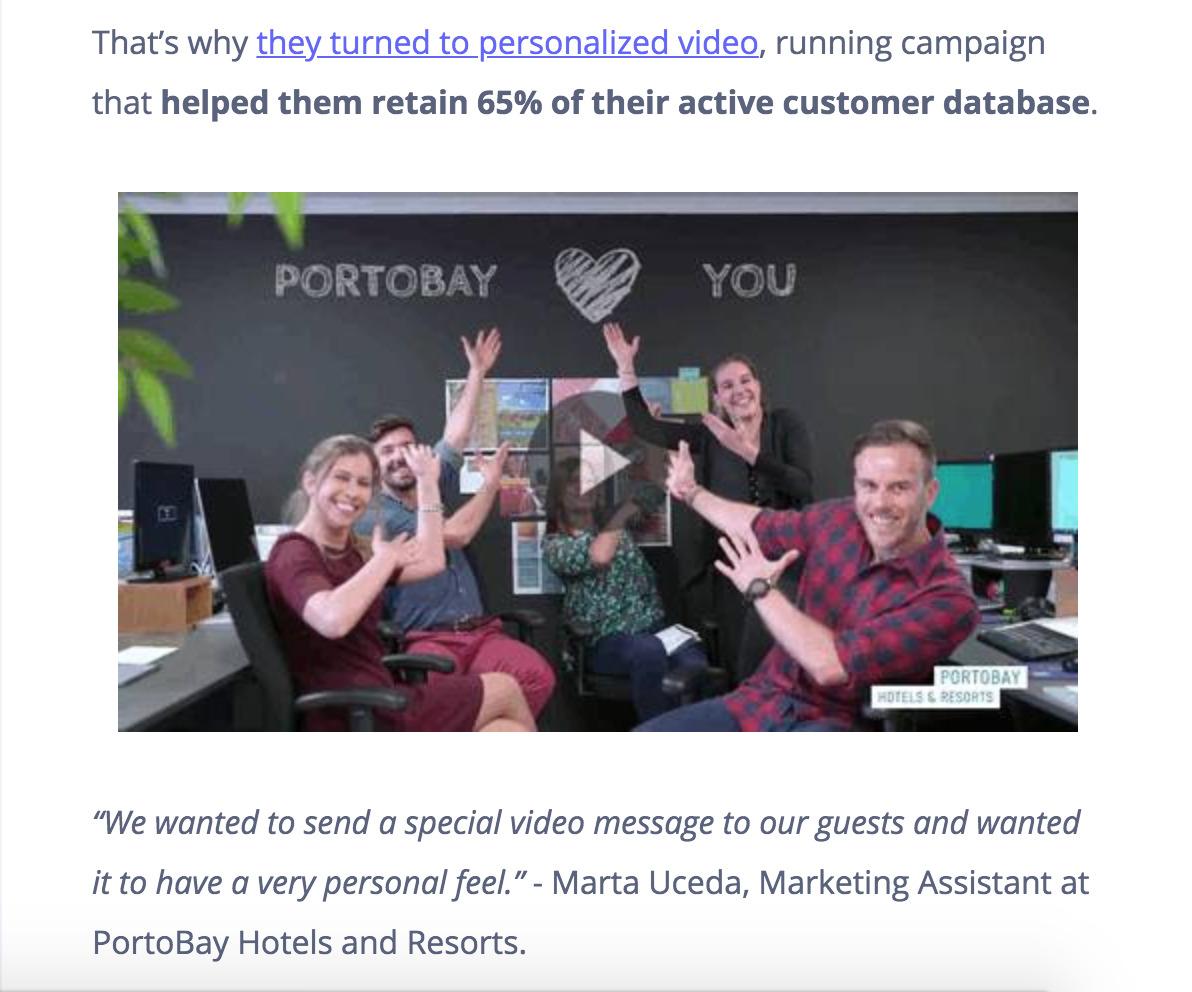 screenshot of video sent via email
