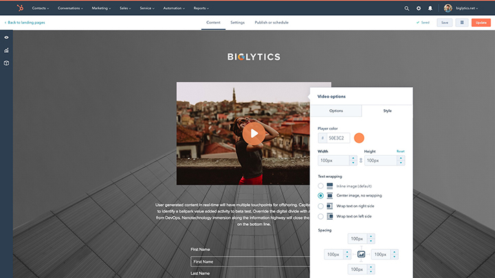 Customize style options with HubSpot Video
