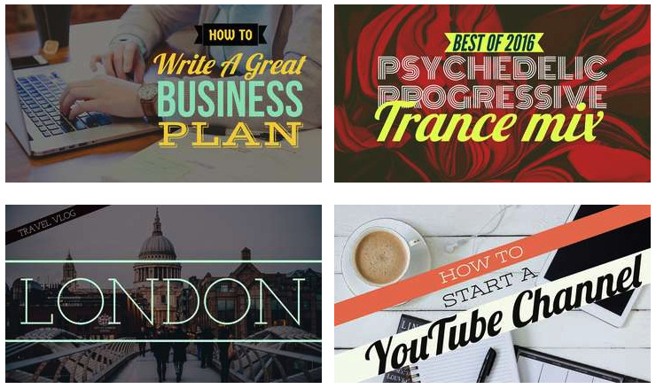 screenshot showing examples of Adobe Spark YouTube thumbnails
