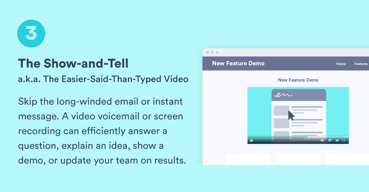 """a graphic for """"The Show-and-Tell"""" type of asynchronous video"""