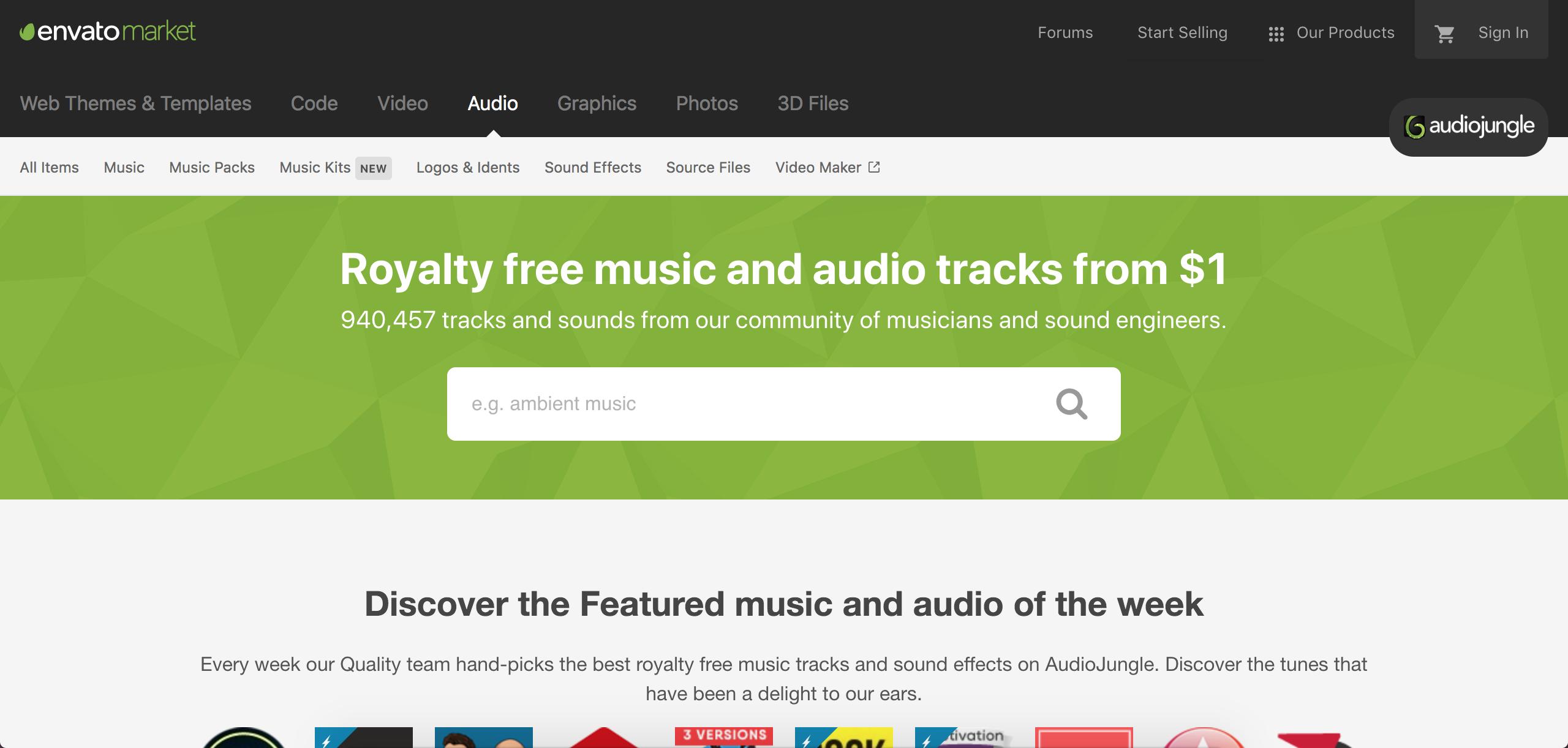 screenshot of Audio Jungle