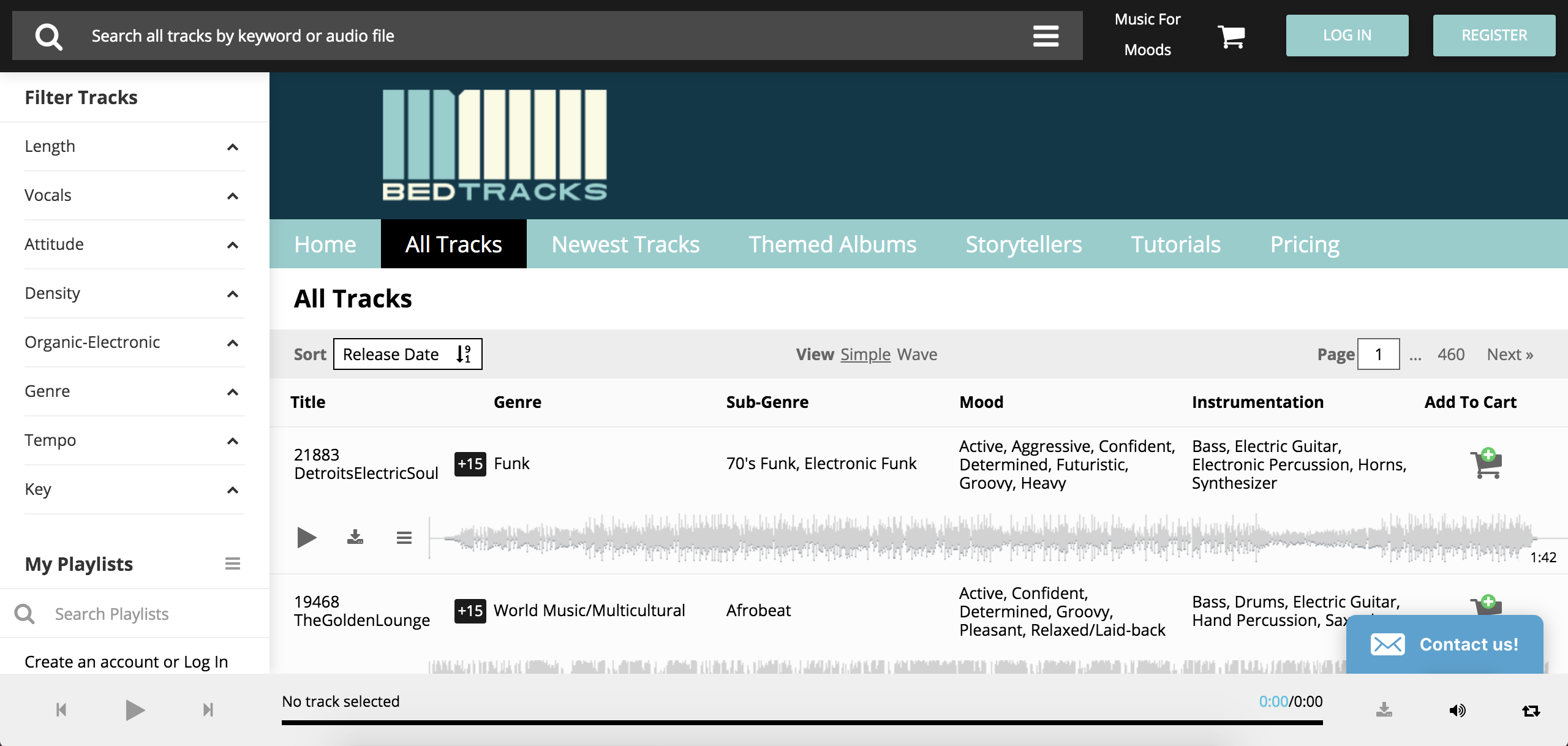 screenshot of Bedtracks to help find background music that matches your video's narrative