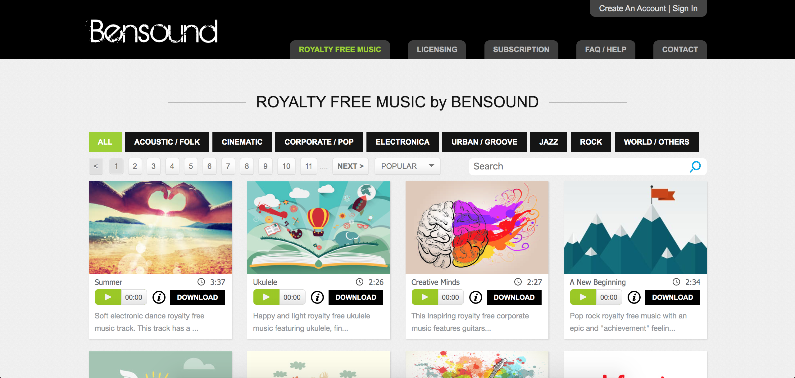 screenshot of Bensound to help find background music for corporate videos