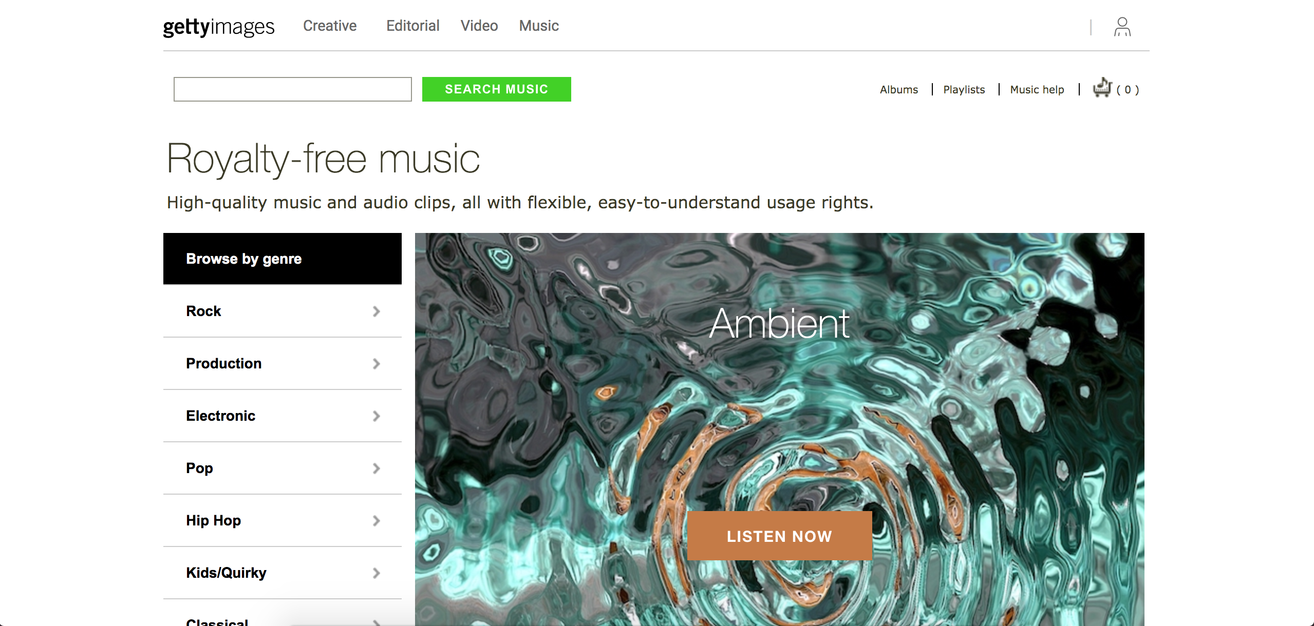 screenshot of Getty Images Music