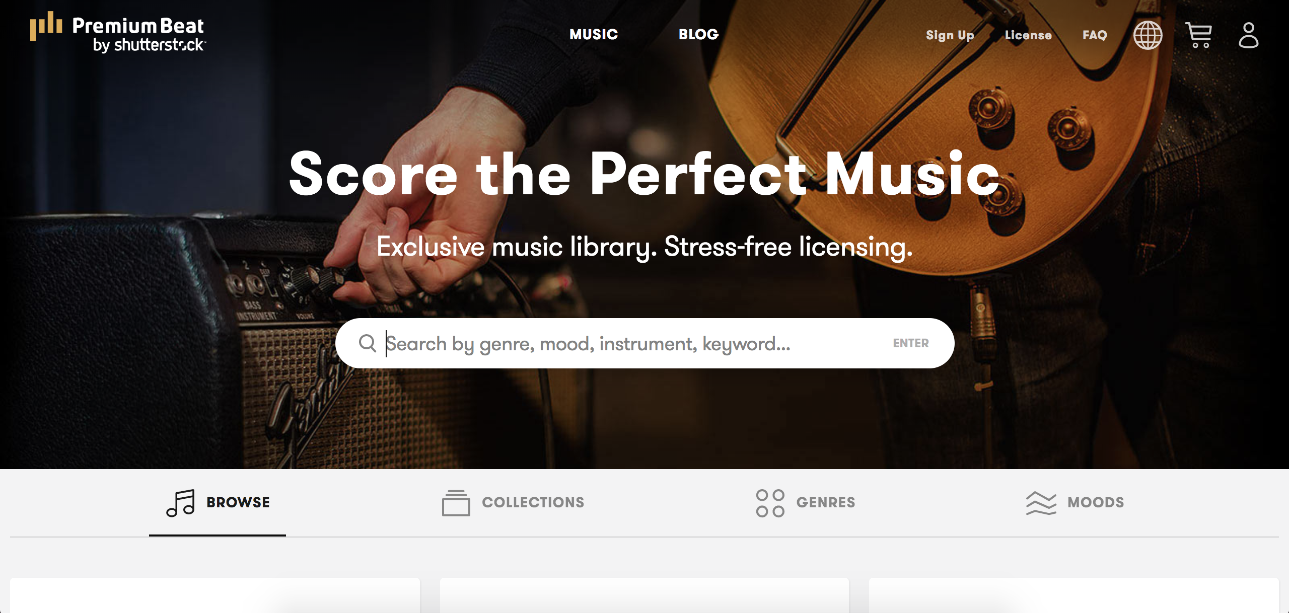 screenshot of PremiumBeat to easily search for background music
