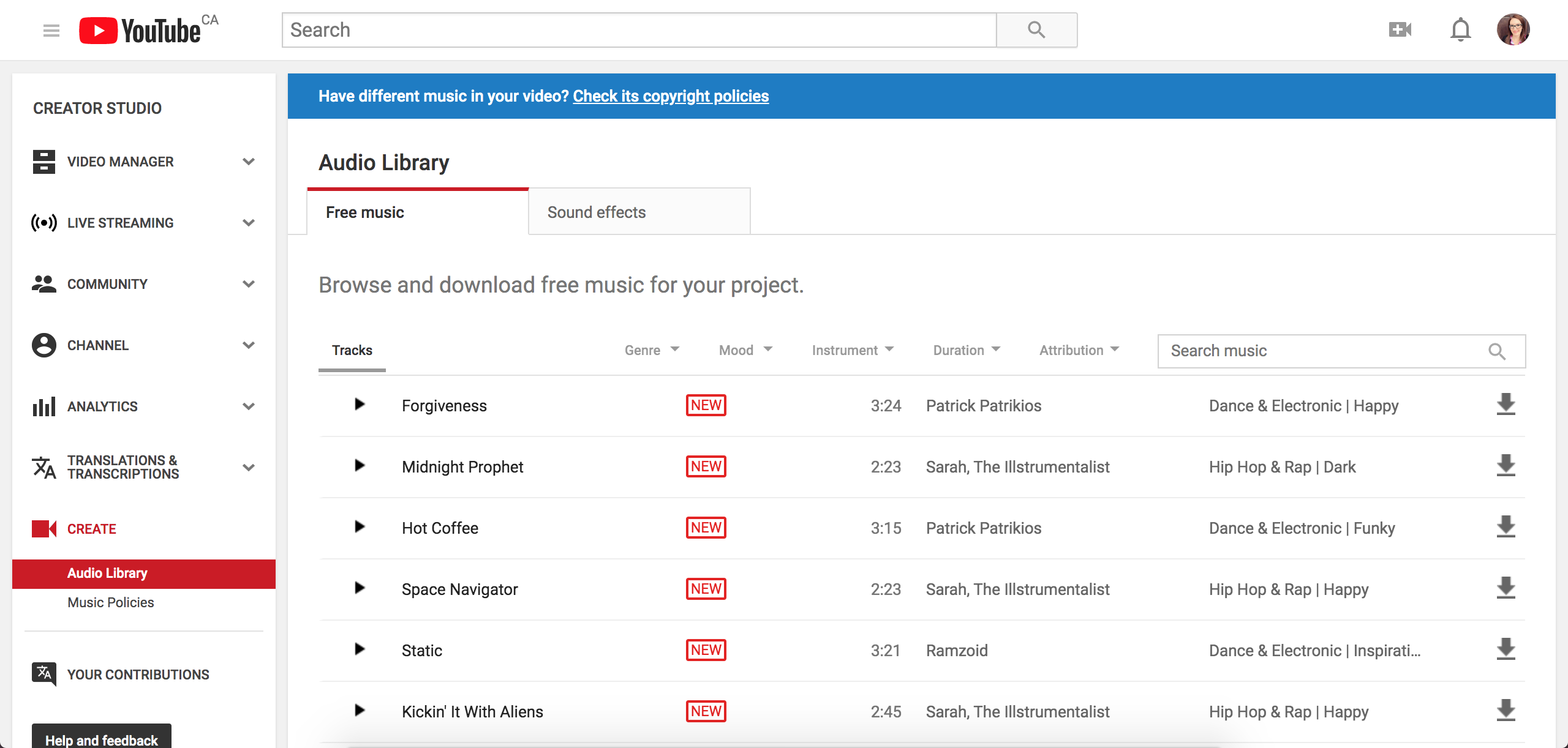 screenshot of YouTube Audio Library
