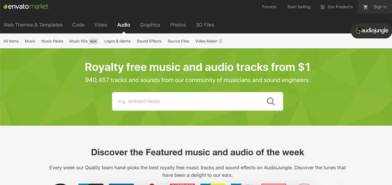 A screenshot of Audio Jungle homepage which offers background music for videos.