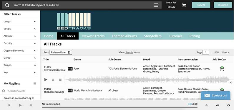 A screenshot of Bedtracks homepage which offers background music for videos.