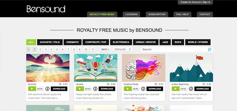 A screenshot of Bensound homepage which offers background music for videos.