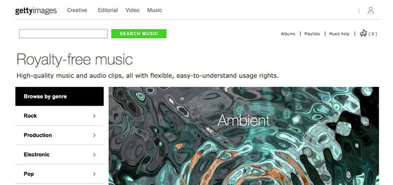 A screenshot of Getty Images Music homepage which offers background music for videos.