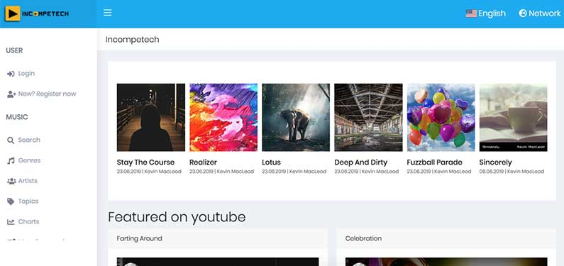 A screenshot of Incompetech homepage which offers background music for videos.