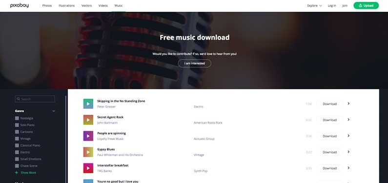 A screenshot of Pixabay Music homepage which offers background music for videos.