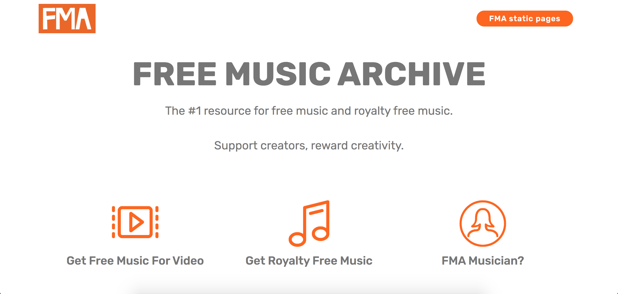 Free Music Archive screenshot to help choose background music for videos