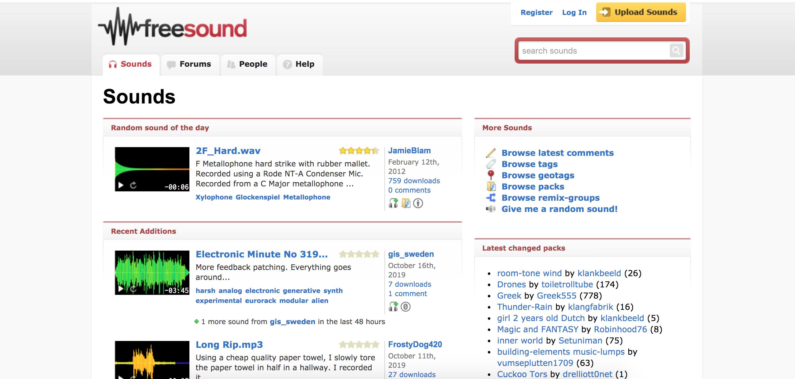 screenshot of Free Sound