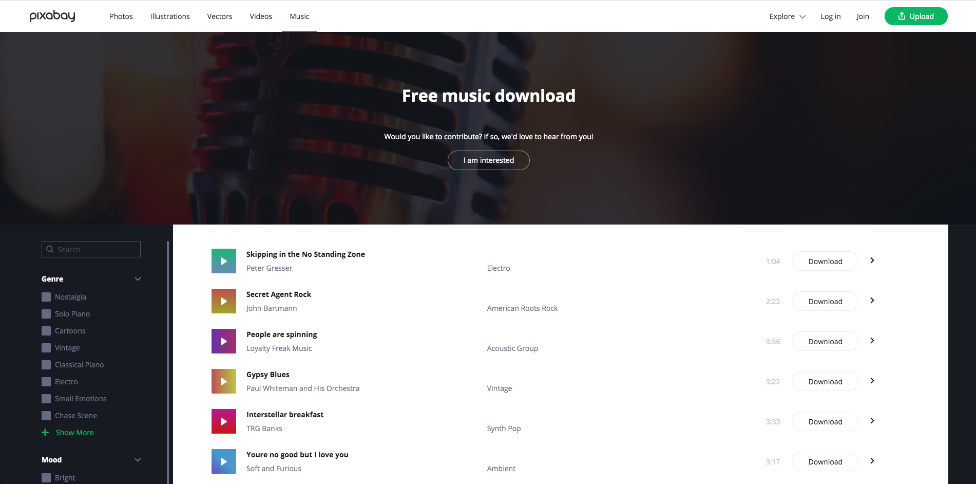 Pixabay Music offers free background music for video