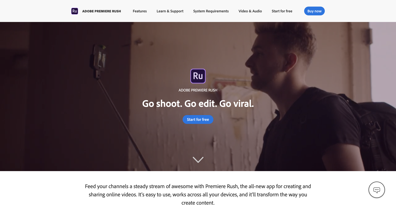 Screenshot of Adobe Premiere Rush, a video editing tool
