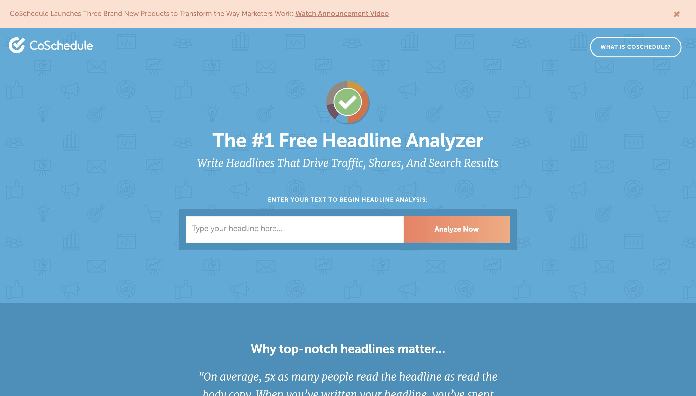 Screenshot von CoSchedules Headline Analyzer, einem Tool zur Auswahl leistungsfähiger Titel