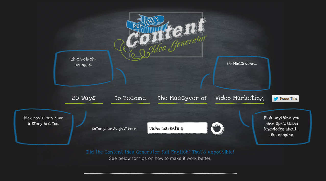 "Screenshot of Portent's Content Idea Generator, a tool to brainstorm video ideas, displaying the suggestion: ""20 Ways to Become the MacGyver of Video Marketing"""
