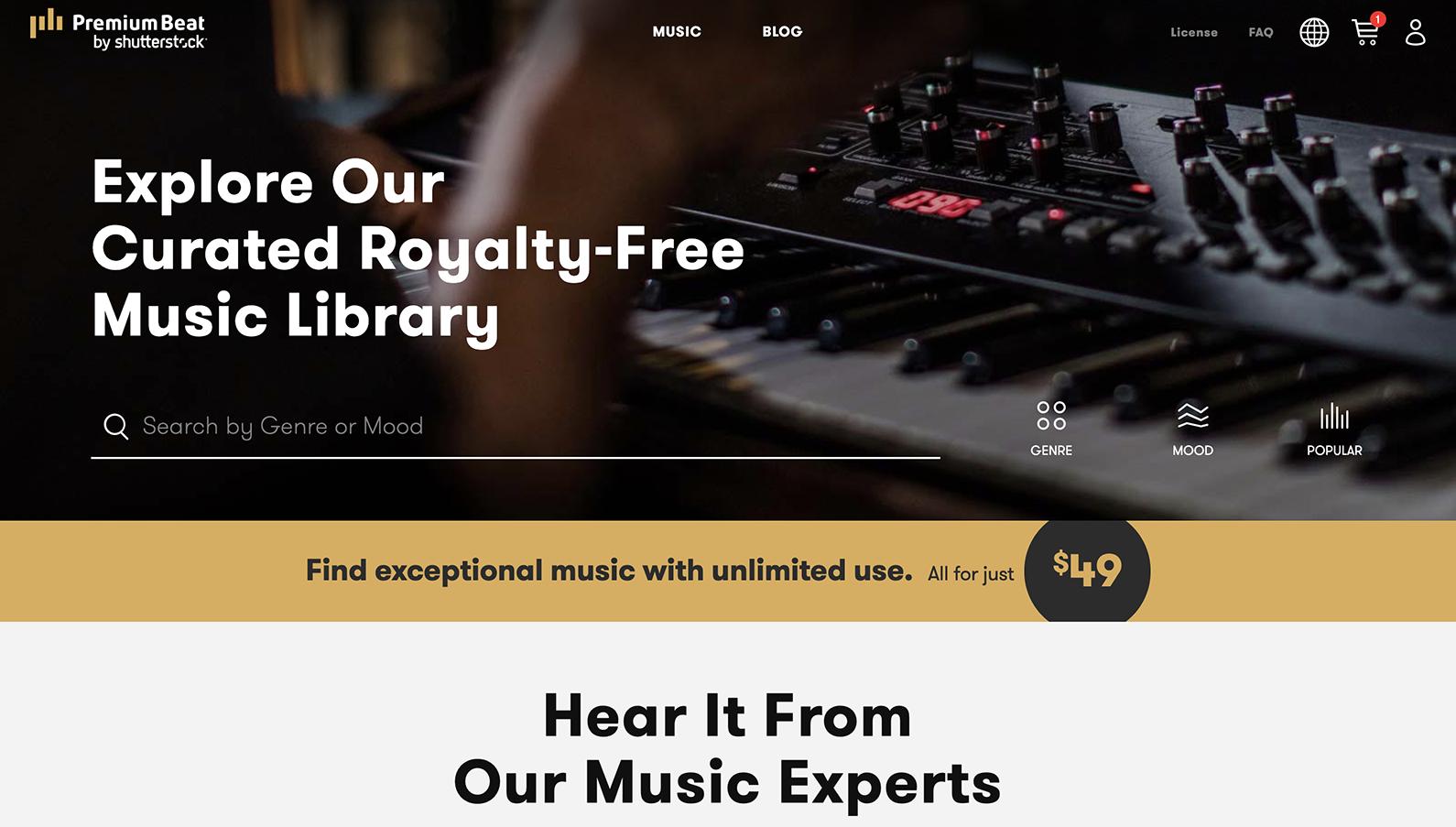 Screenshot von Premium Beat, einem Tool zum Quellen von kostenloser Musik für Videos