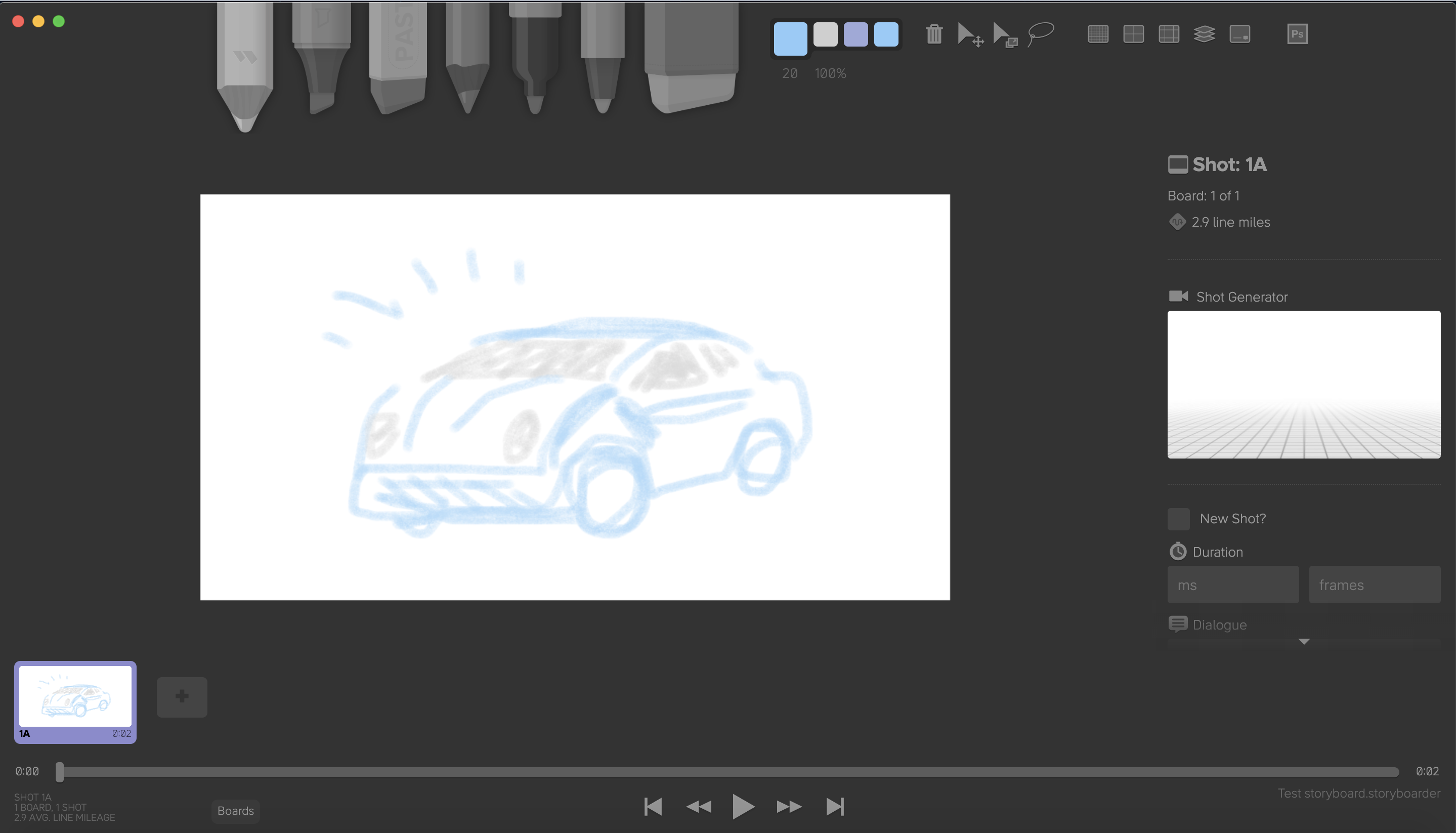 Screenshot of Storyboarder, a video planning and storyboarding tool by WonderUnit