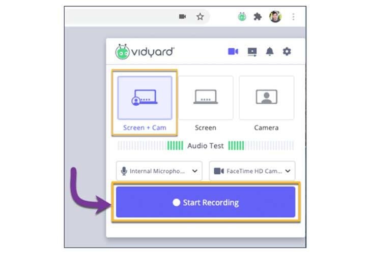 A screenshot showing how to screen record using Vidyard Chrome Extension.
