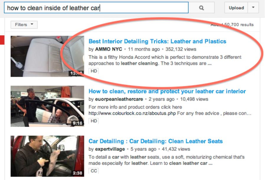 screenshot of how to video results for how to clean the inside of a leather car