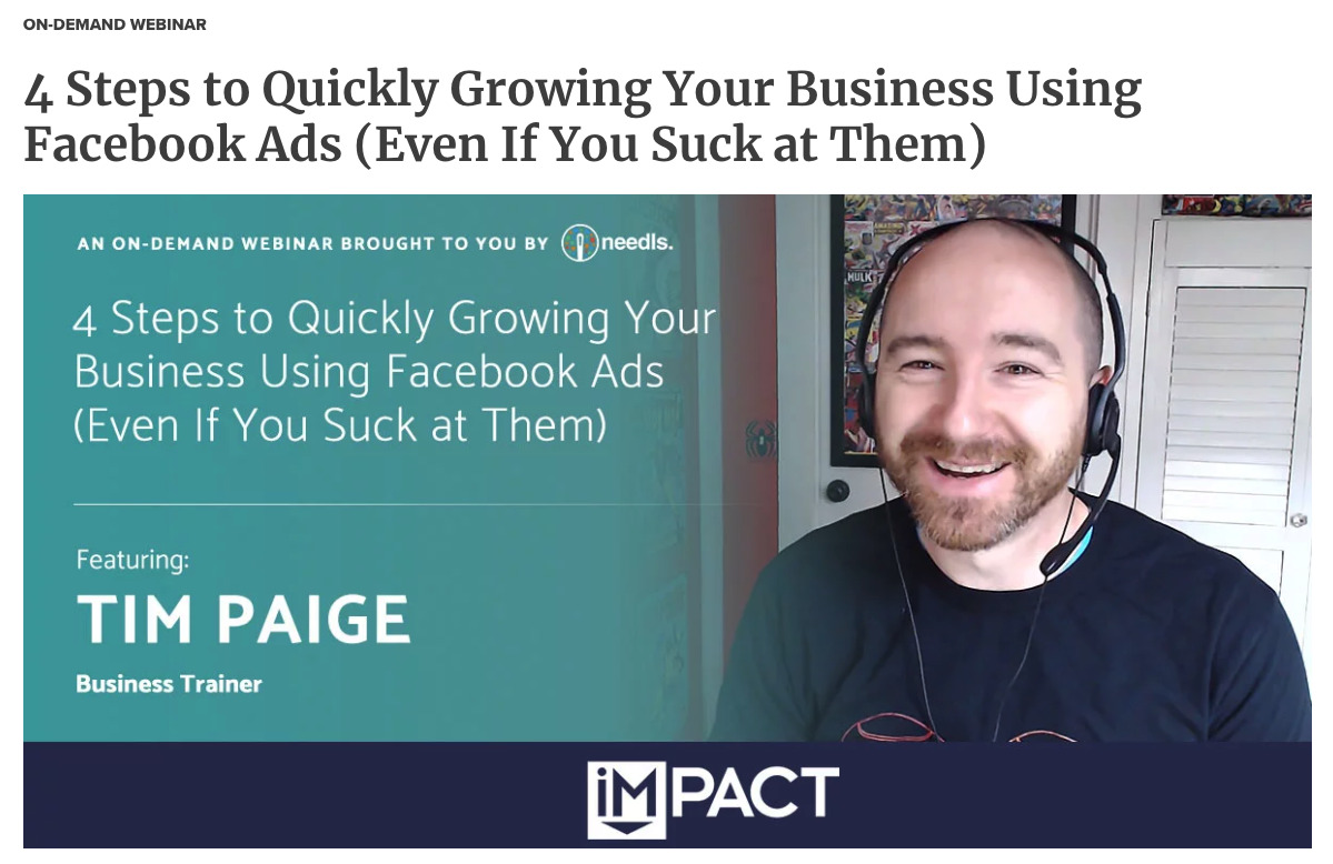 a screenshot of one of IMPACT's webinars about Facebook Ads