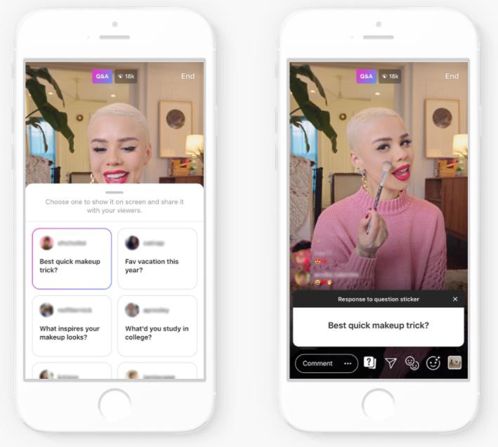 makeup tutorial video via Instagram Live