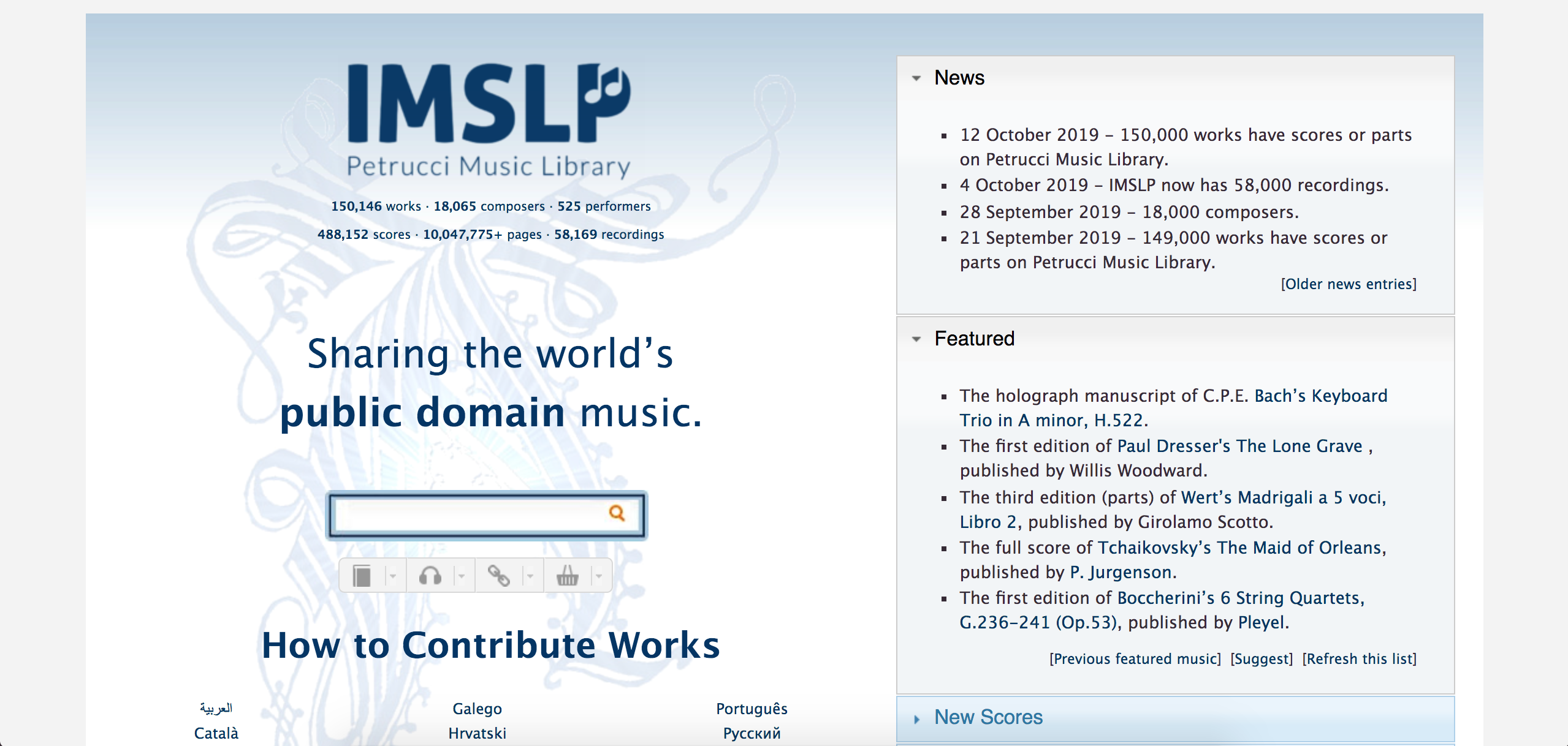 screenshot of IMSLP
