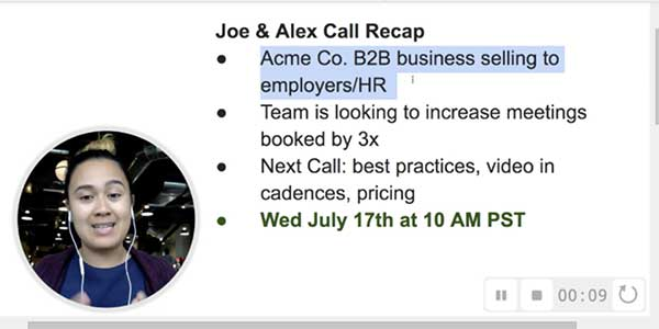 Thumbnail example of a sales prospecting video meeting recap.