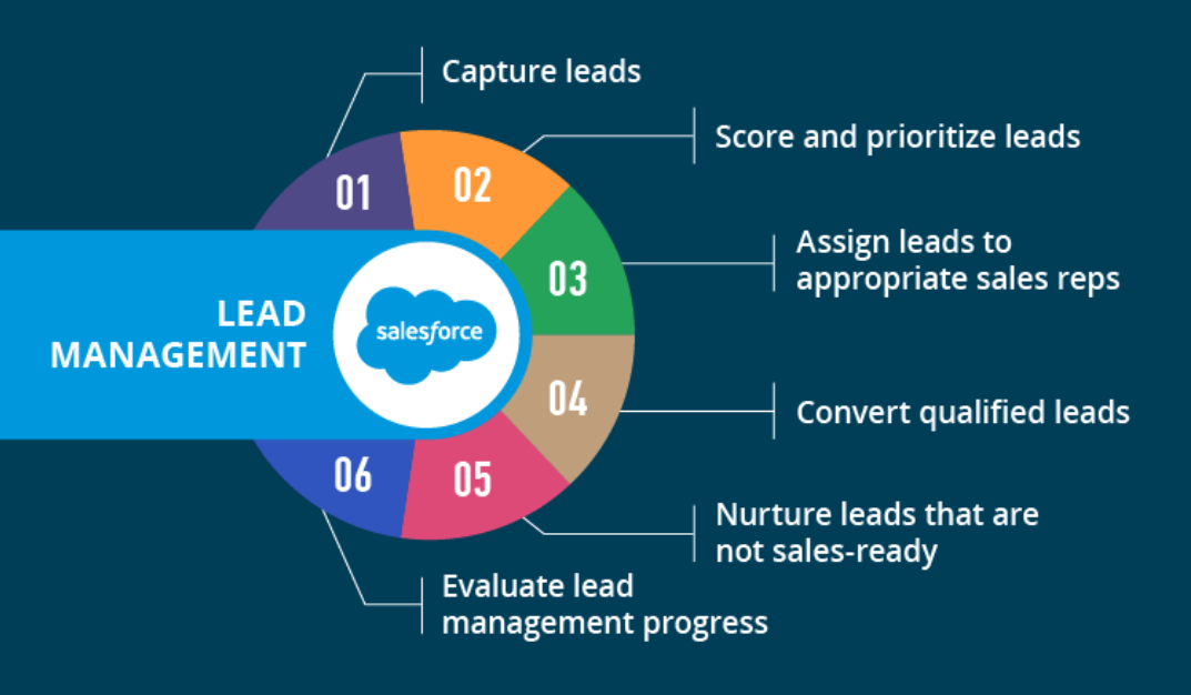 Graphic chart depicting lead management process: 1. Capture leads; 2. Score and prioritize leads; 3. Assign leads to appropriate sales reps; 4. Convert qualified leads; 5. Nurture leads that are not sales-ready; 6. Evaluate lead management process