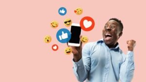 Social media icons popping up for social selling