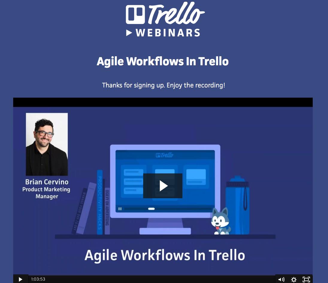 a screenshot of a Trello webinar on agile workflows