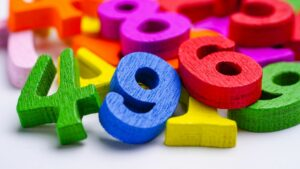 a pile of colorful number blocks represents video analytics