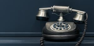 A rotary phone as an example of a video calls to action.