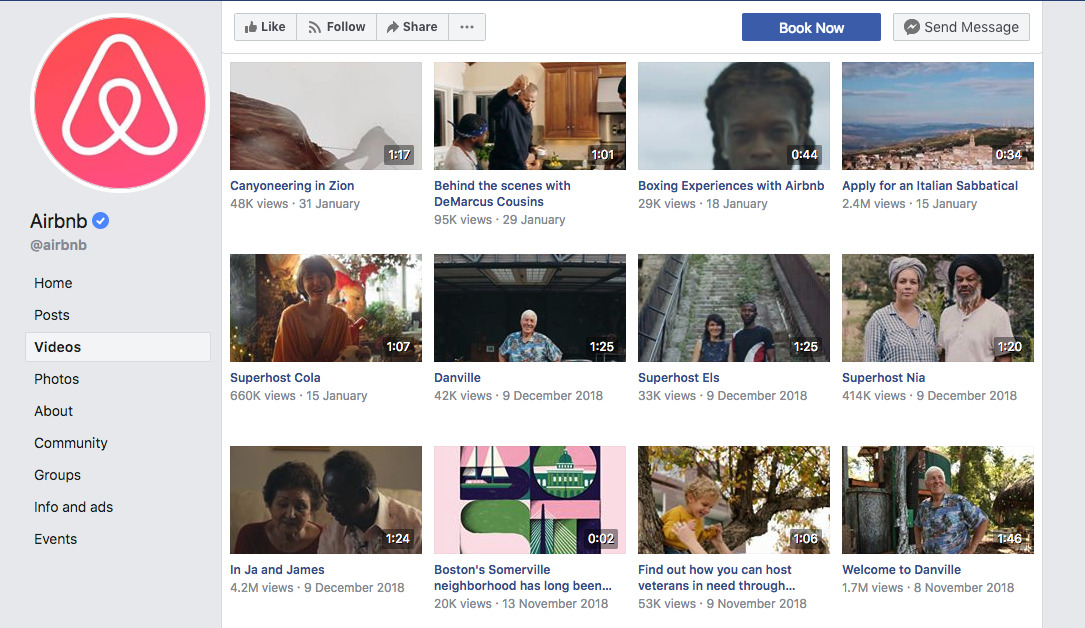 Airbnb videos on Facebook