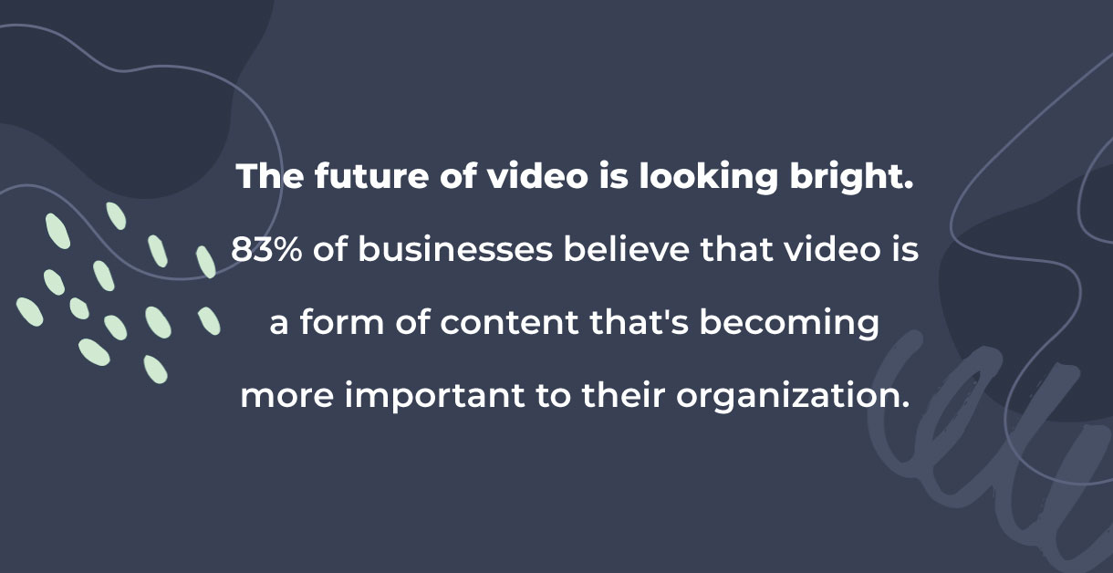 "A statistic that says ""the future of video is looking bright"" supporting video trends."