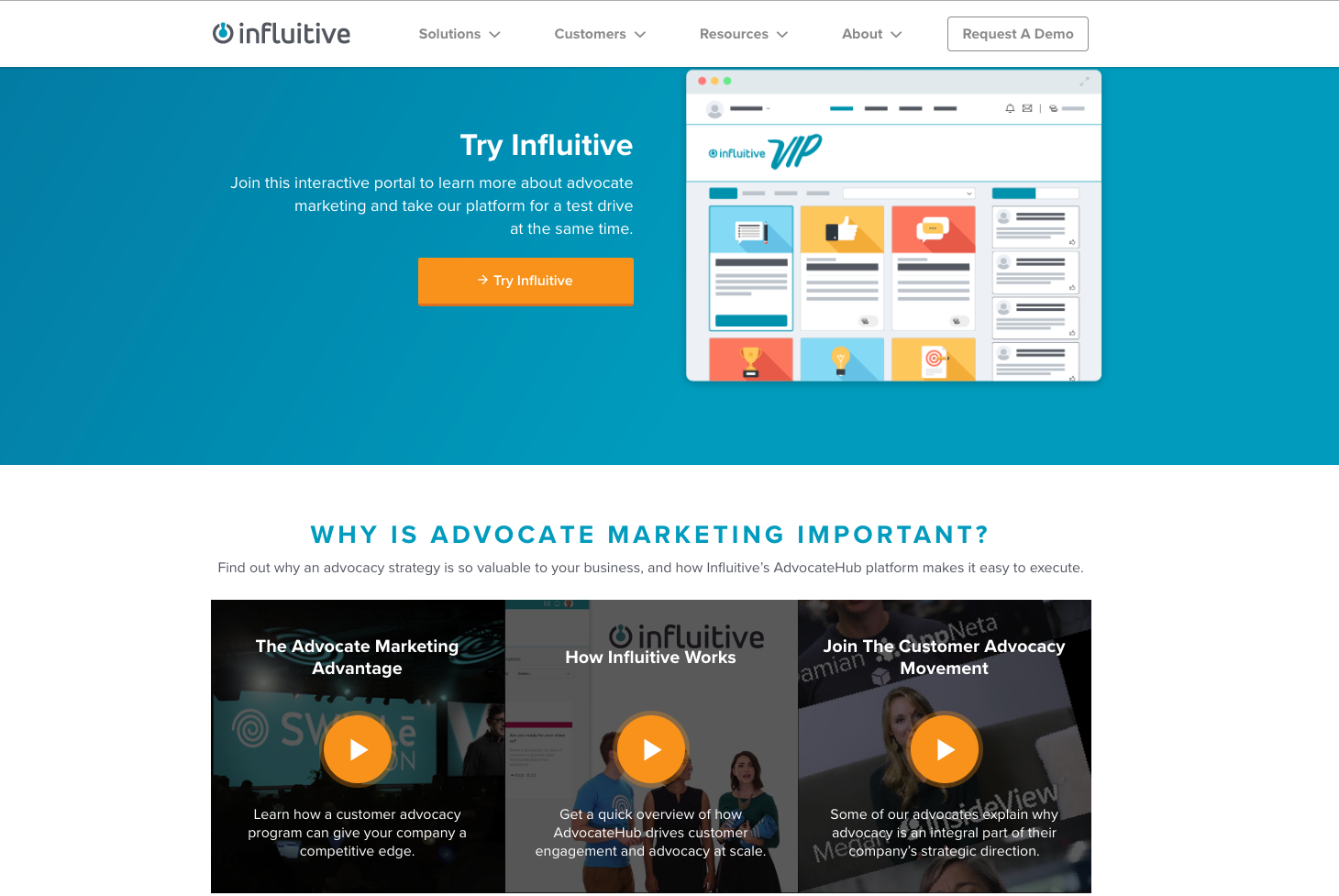 screenshot of Influitive's homepage with video embeds