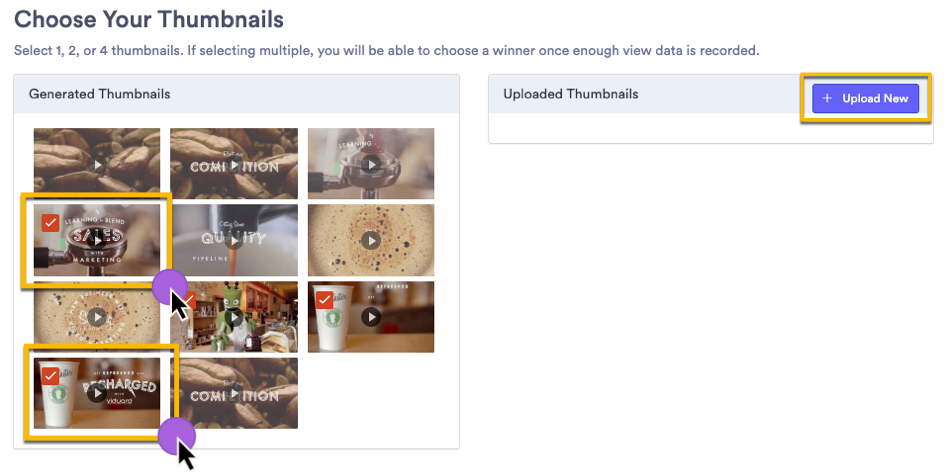 a screenshot shows how to select thumbnails to A/B test (or split test) in Vidyard
