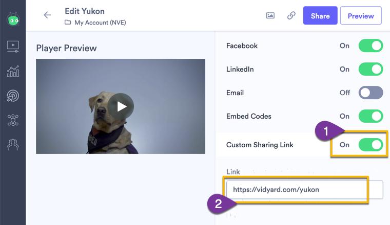 Vidyard hacks screenshot showing the toggle to add a custom sharing link in Vidyard.