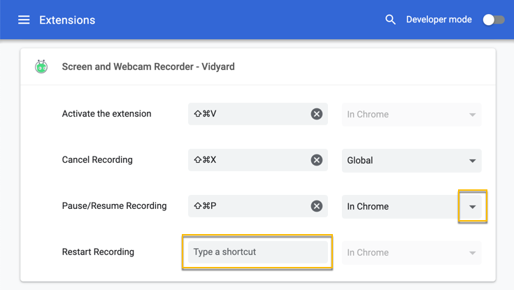 Vidyard hacks shown using Chrome.