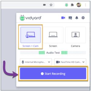 Vidyard Chrome extension for screen recording.