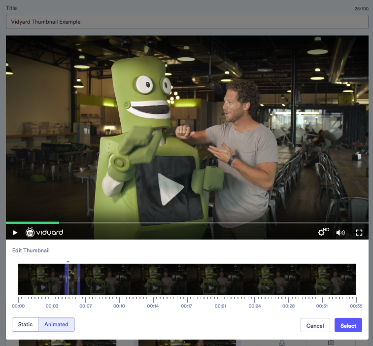 a screenshot showing how to select a video thumbnail from the video in Vidyard