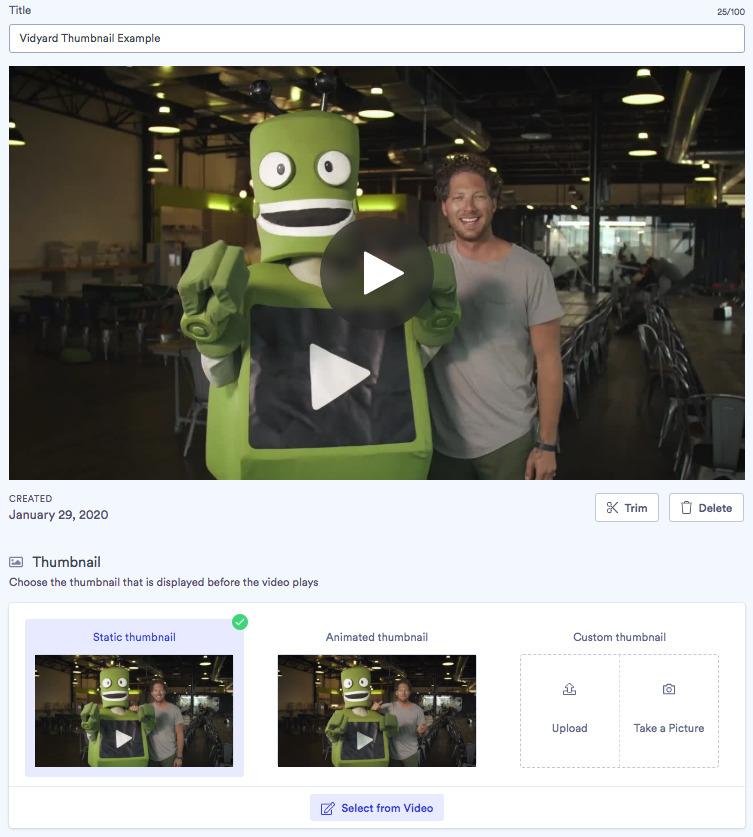 a screenshot showing video thumbnail options in Vidyard