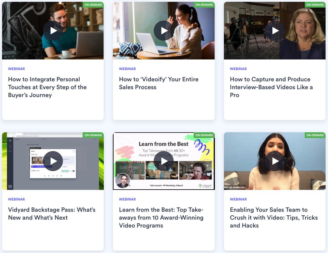 a screenshot of Vidyard's webinar hub